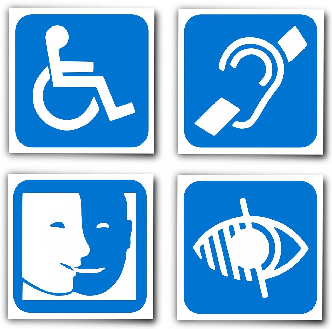 logo officiel des différentes formes de handicap : handicap moteur, handicap auditif, handicap mental, handicap visuel