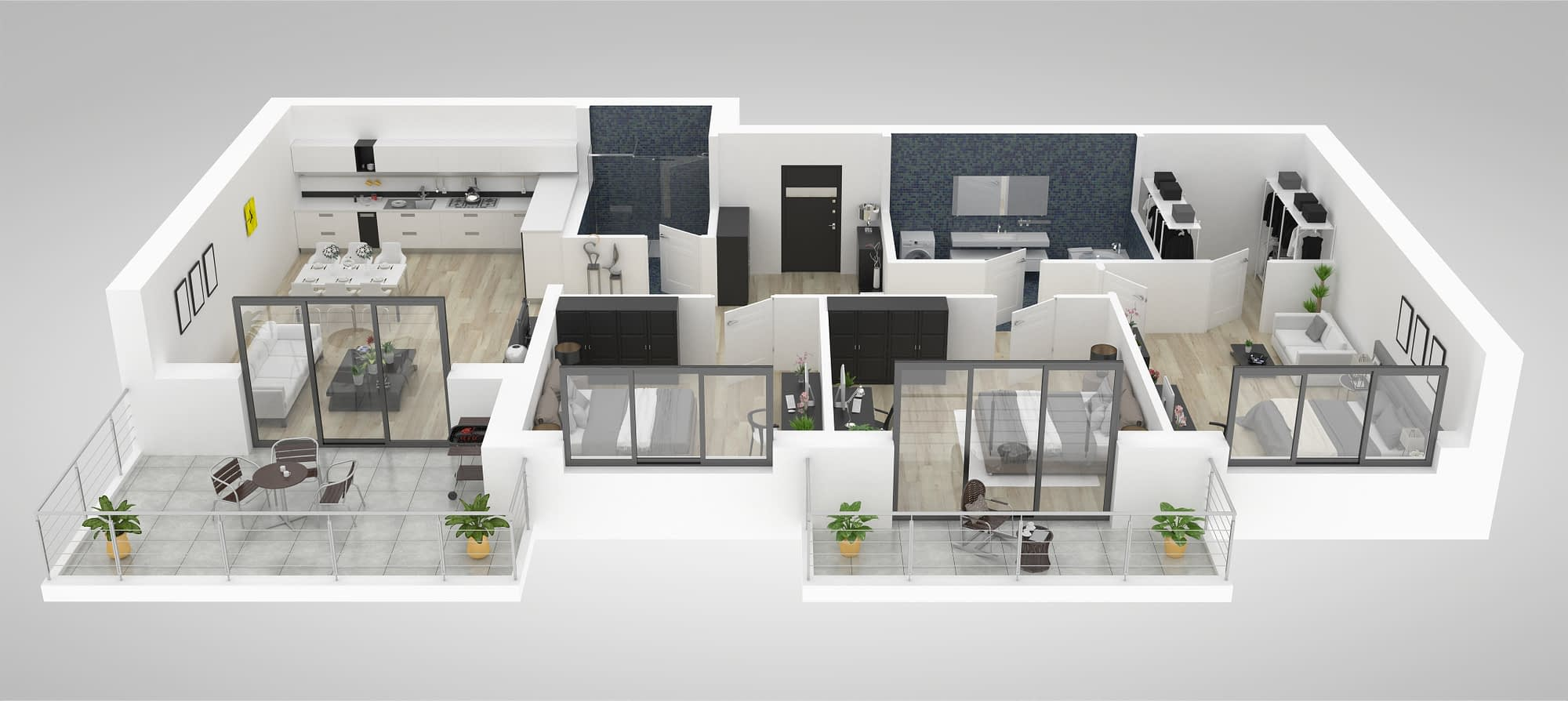 Exemple de projet 3D permettant au client de se projeter dans leur futur intérieur