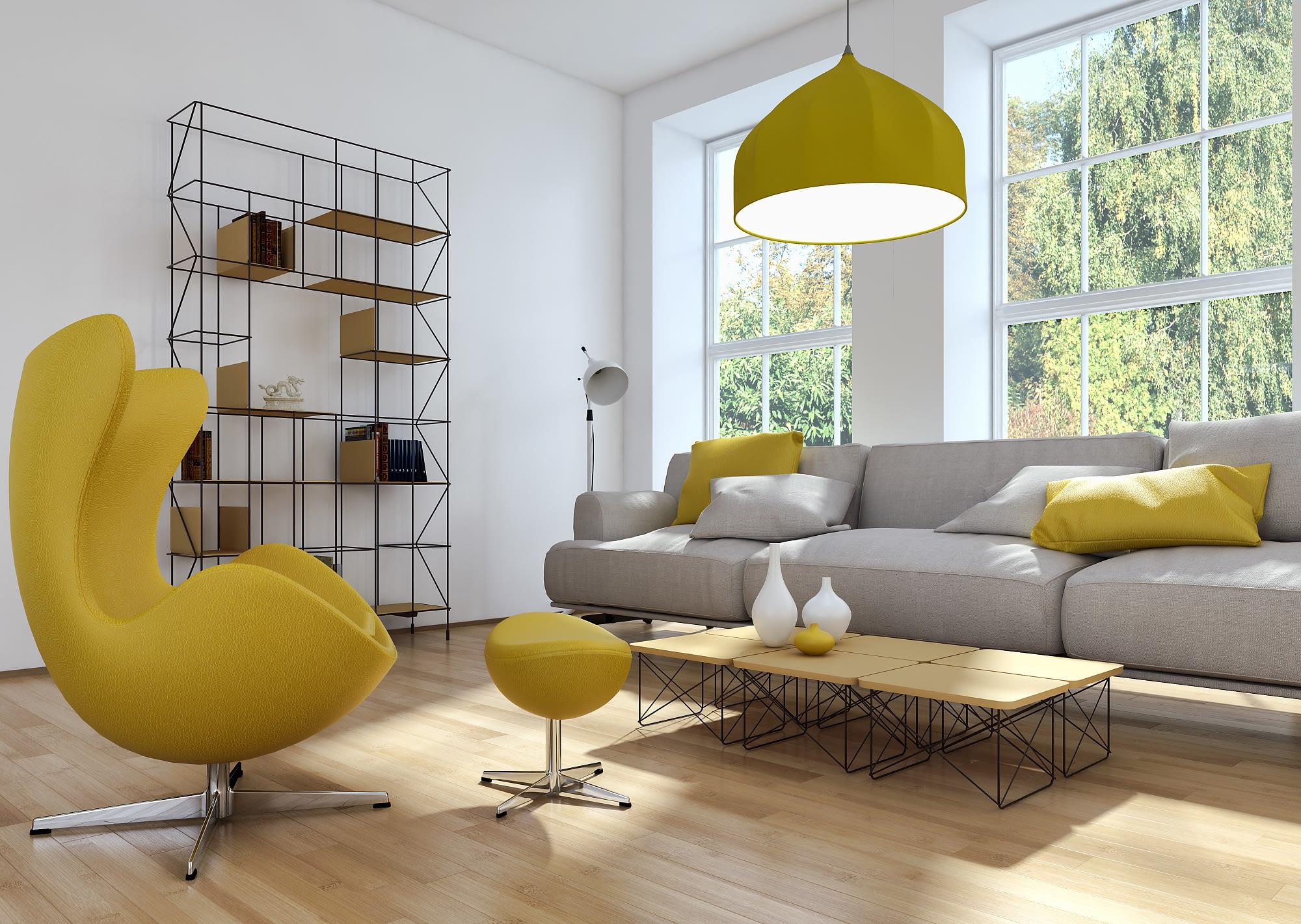 Salon gris et jaune, matériaux bois et métal. Salon alliant les formes modernes et la rondeur avec des éléments filaires pour alléger la composition. Cette photo est représentative d'un style pouvant être fourni par votre architecte d'intérieur, Interior CréaCap dans le Gers